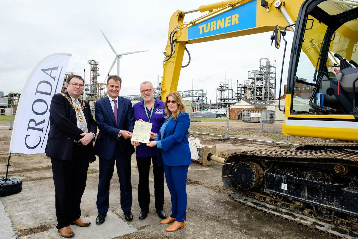 Croda's Chairman Anita Frew and CEO Steve Foots (second left) officially hand over the £26 million Hull expansion project