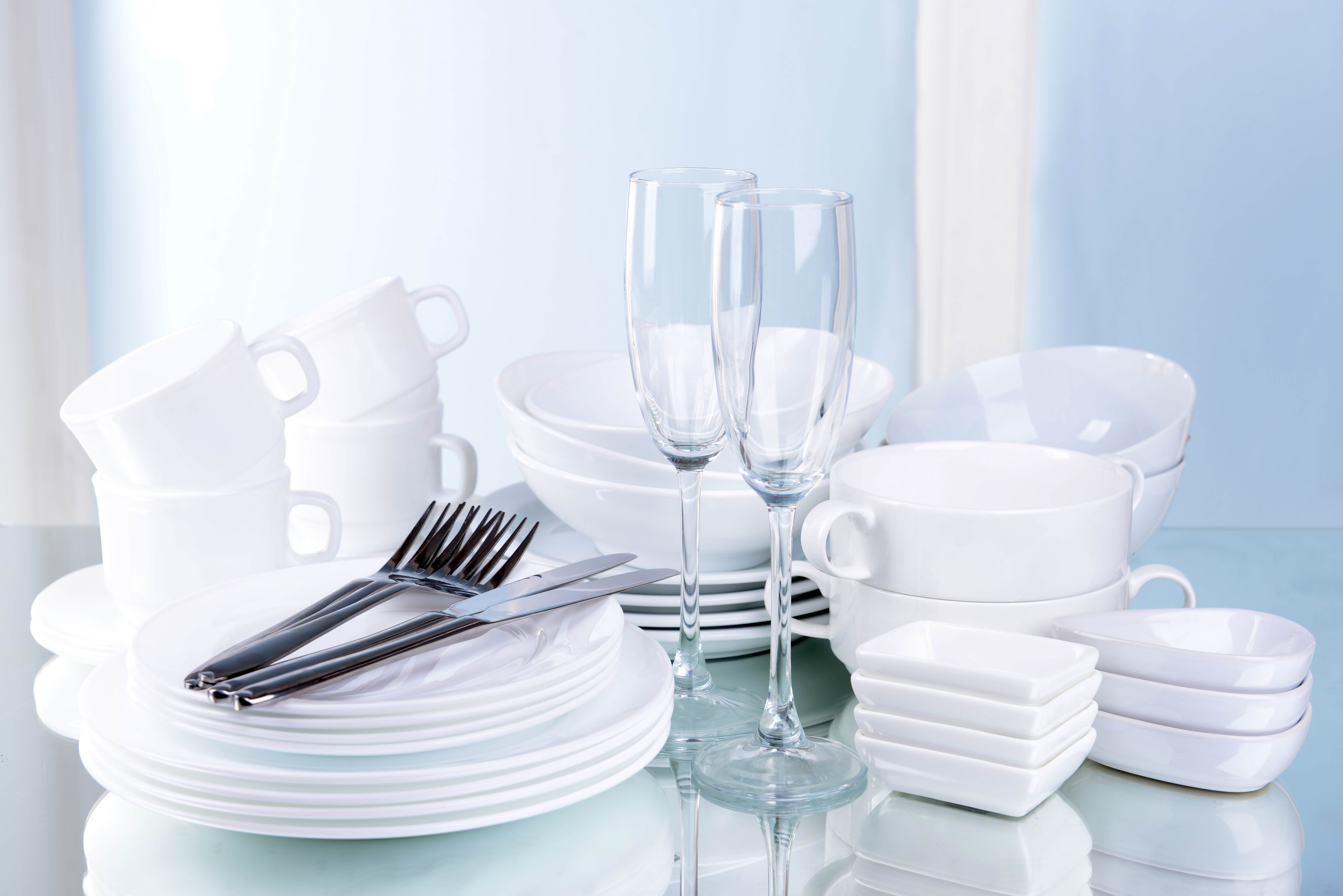 Sparkling clean cutlery, crockery and glasses