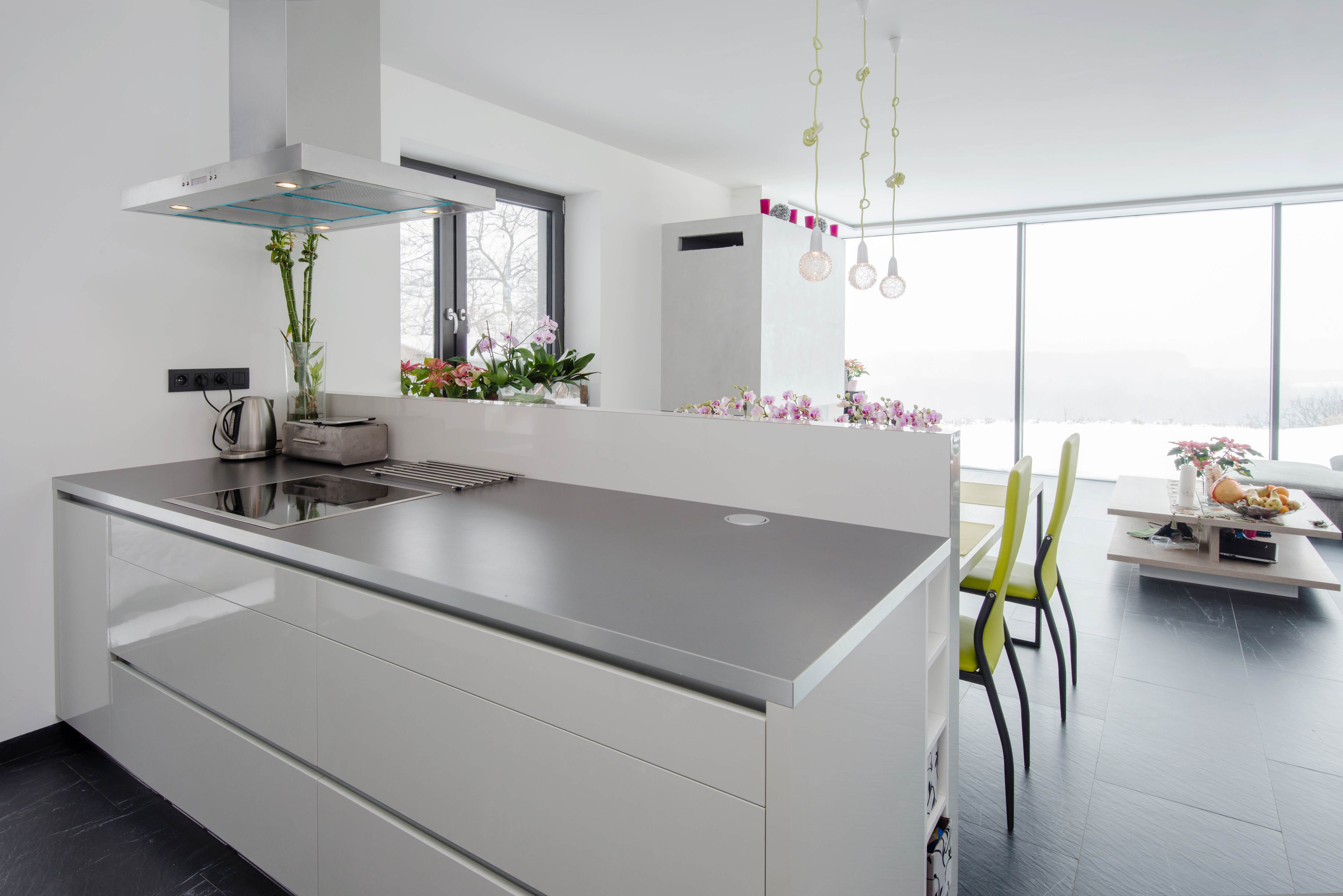 A clean kitchen surface and floor